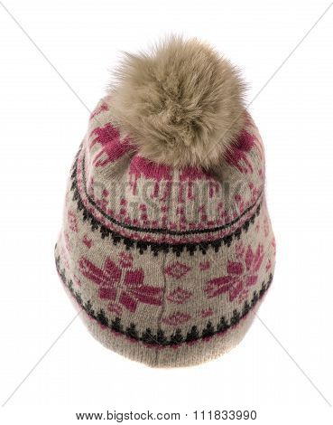 Knitted Hat With Pompon Isolated On White Background