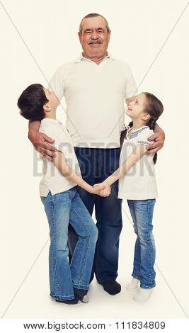 senior with children family portrait on white