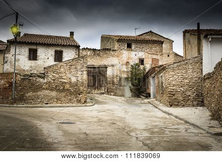 a street in el Poyo del Cid village, Teruel, Spain