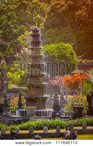 Intricate, Decorative Fountain At Tirta Gangga In Indonesia
