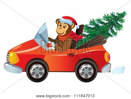cartoon monkey in the car with a New Year tree