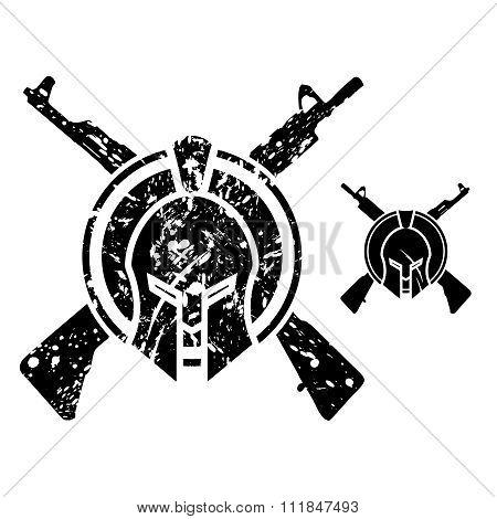 Vector Modern Sparta & Rifle Emblem Symbol