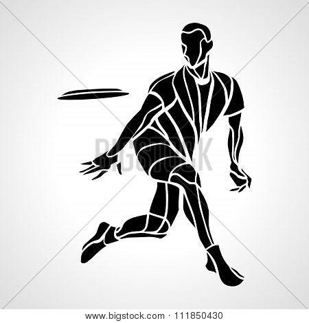 Sportsman Throwing Ultimate Frisbe. Vector Illustration