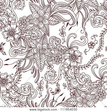 Floral Hand Drawn Seamless Pattern Background.