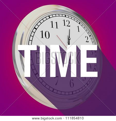 Time word with long shadow over a 3d clock to illustrate passing of hours, minutes or seconds