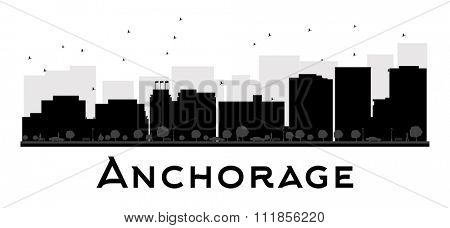 Anchorage City skyline black and white silhouette. Simple flat concept for tourism presentation, banner, placard or web site. Business travel concept. Cityscape with famous landmarks