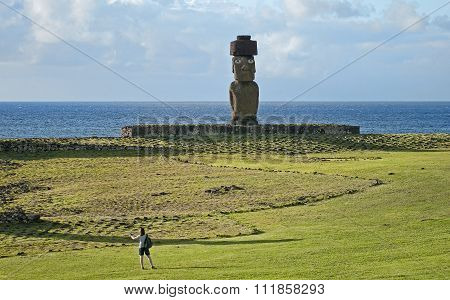 Hanga Roa, Ester Island, Chile - November 9, 2015: Tourists In H
