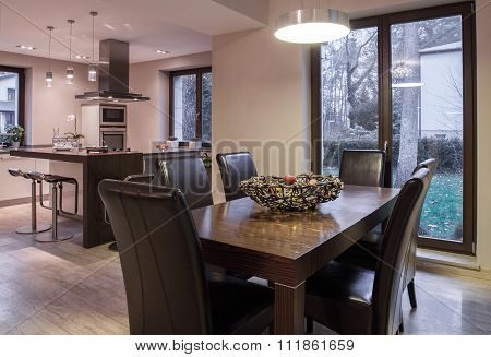 Elegant Dining Room And Kitchen