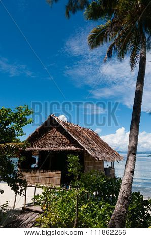 Lonely Nipa Hut on stilts with palm tree at a Beautiful Beach in front of the ocean