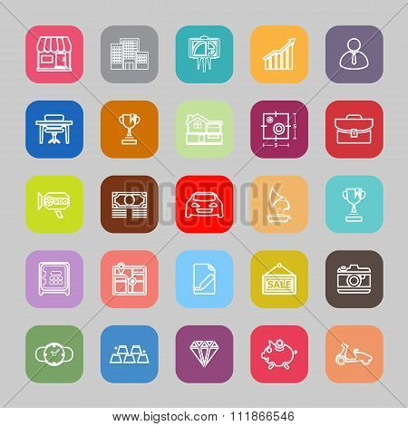 Asset And Property Line Flat Icons