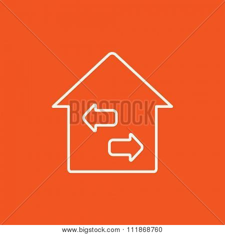 Property resale line icon for web, mobile and infographics. Vector white icon isolated on red background.