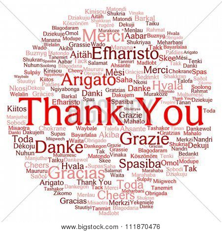 Vector concept or conceptual abstract circle thank you word cloud in different languages or multilingual for education or Thanksgiving Day