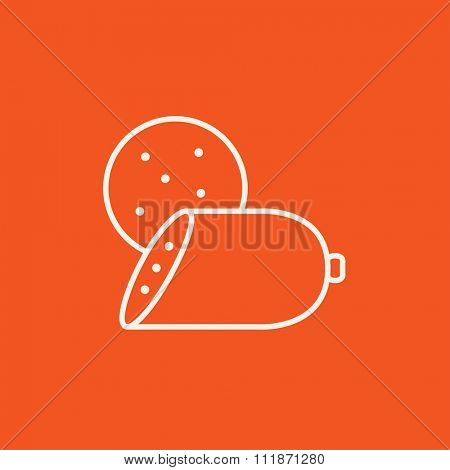 Sliced wurst line icon for web, mobile and infographics. Vector white icon isolated on red background.