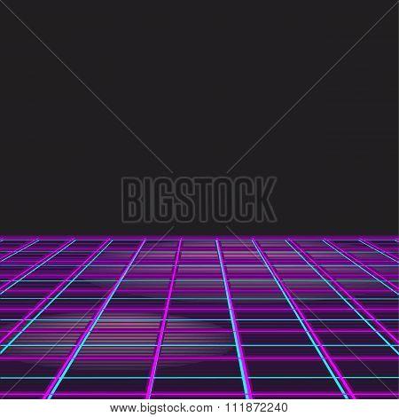 Retro Style Disco Design Neon Background