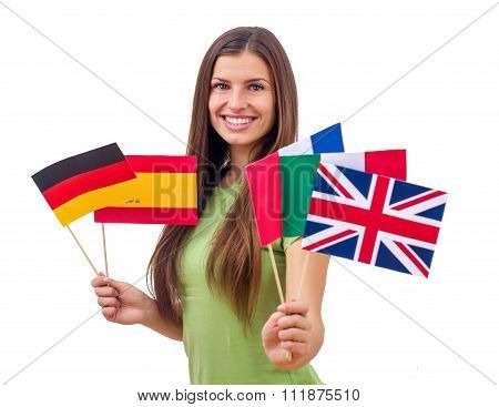 Student Female With International Flags