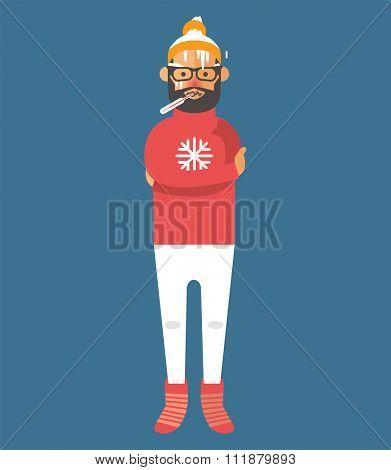 Man illness vector illustration. Seasonal virus attack. Man illness, boy sick. Man cold illustration. People unwell need medical help. Virus, health, fever people. People unwell. Illness people