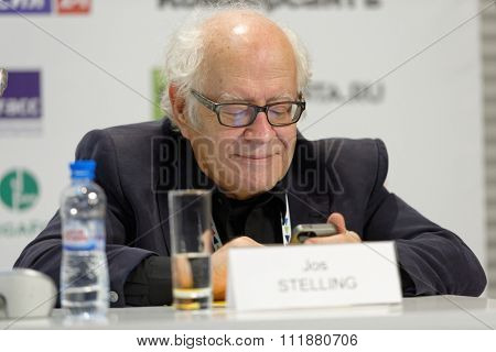 ST. PETERSBURG, RUSSIA - DECEMBER 14, 2015: Dutch film director and screenwriter Jos Stelling at the conference Films On Big Screen, Restoration And Development during St. Petersburg Cultural Forum