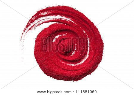 Top view close up of red color spiral.