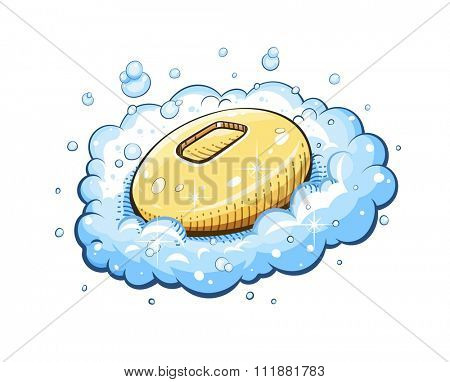 Soap in foam. vector illustration. Isolated on white background. Transparent objects used for lights and shadows drawing.