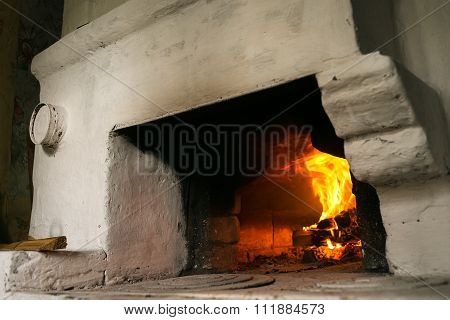 fire in the Russian traditional stove.