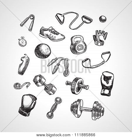 Fitness And Gym Vector Accessories Set. Hand Drawn Sports Icon Set, Sketch Style
