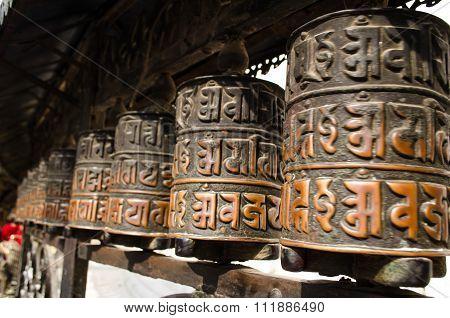Prayer Wheels In Swayambhunath, Nepal.