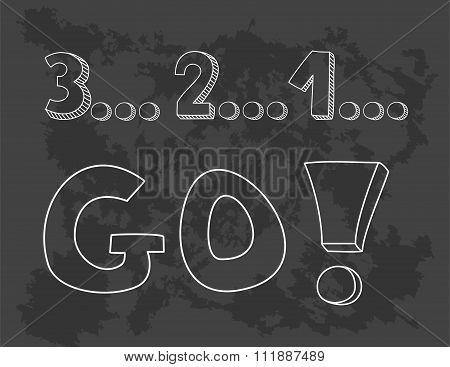 Countdown: 3 2 1 go! Hand drawn vector sketch