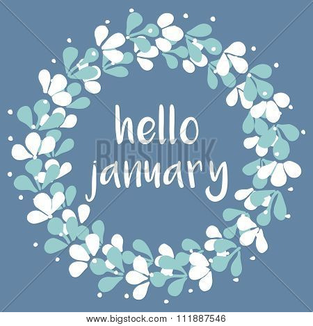 Hello january winter watercolor wreath vector card