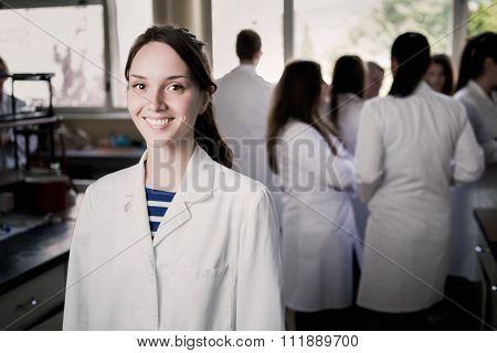 Young medicine developer pharmaceutical researcher. Woman genius chemist