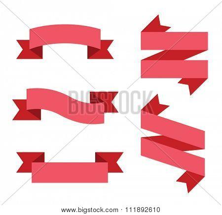 Flat vector ribbon labels set. Labels vector banners, vector ribbons. Ribbons sale, Holidays ribbons, flat ribbons. Vector ribbons icons. Ribbons vector icons flat style. Ribbons vector collection