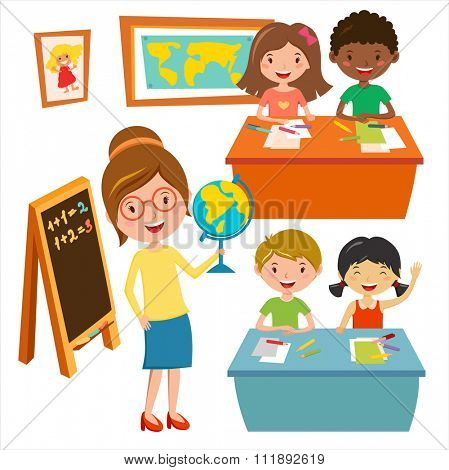 Kids school geography lessons illustration. Geographic teacher and kids in classroom. Children sitting on desk. Kids school vector. Boys, girls vector cartoon. Pre-school illustration. School kids