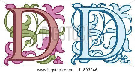 Vintage initials letter D.