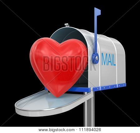 Open mailbox with heart. Image with clipping path