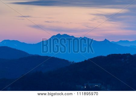 Morning Sunrise And Foggy Of Mountain In Korea