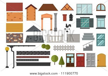 Family house vector design elemets