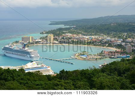 OCHO RIOS, JAMAICA - DEC 29, 2014: Ocho Rios and Carnival Cruise Victory aerial view from the top of Mystic Mountain in Ocho Rios, Jamaica.