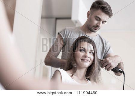 Using Hair Straightener