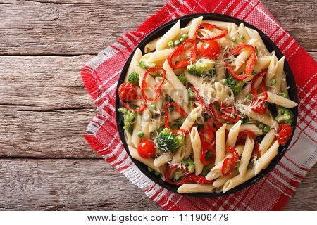 Primavera Pasta With Vegetables On The Table. Horizontal Top View