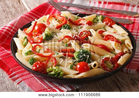 Primavera Italian Pasta With Vegetables Close-up