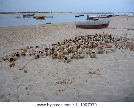 Small Fishermens Boats At The Seaside