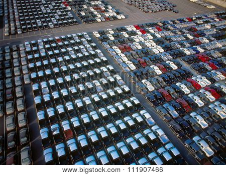 Cars waiting in Port before the loading