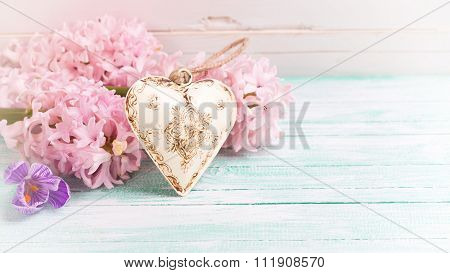 Background  With Fresh Flowers Hyacynths, Crocus  And Decorative Heart
