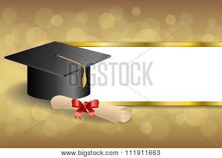Abstract background beige education graduation cap diploma red bow gold stripes frame illustration
