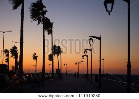 The famous seaside corniche on sunset, Beirut, Lebanon