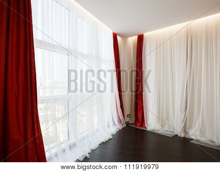Living Room Window With Red Curtains