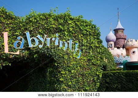 FRANCE, PARIS - 10 SEP, 2014: Tunnel to Labyrinth in Disneyland.