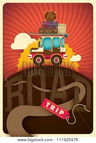 Road trip illustration. Vector illustration.
