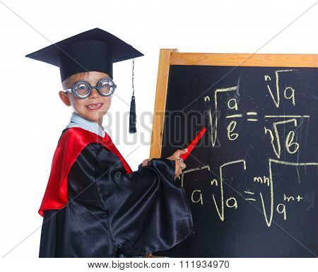 Little boy in academic hat