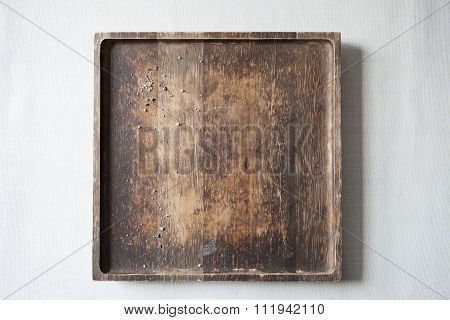 Textured Wood Board with Salt Crystals