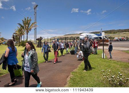 Hanga Roa, Ester Island, Chile - November 8, 2015: Tourists At T